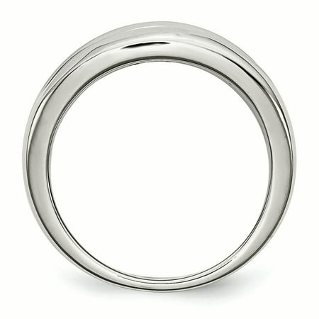 Stainless Steel Polished CZ Ring 9 Size - image 1 de 7