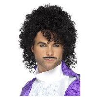 Adult size 80s Purple Musician Kit - Wig and Mustache - Purple Rain - Prince