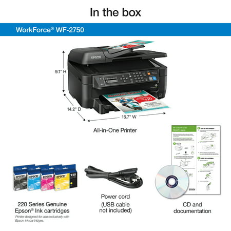 Epson WorkForce WF-2750 All-in-One Wireless Color Printer/Copier