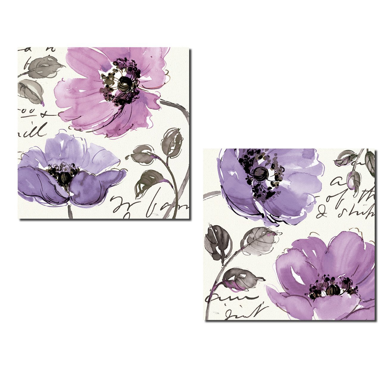 Beautiful Gray and Purple Blooming Flower Set by Pela Studio; Floral Decor; Two 12x12in Poster Prints