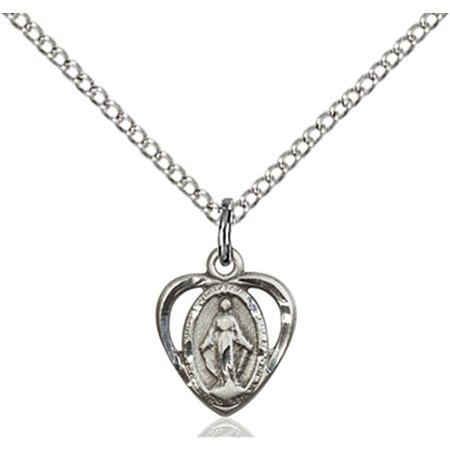 Sterling Silver Miraculous Pendant 3 8 X 3 8 Inches With Sterling Silver Lite Curb Chain