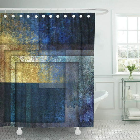 PKNMT Colored Shabby Dark Blue and Golden Abstract Damask Dirty Geometrical Imitation Bathroom Shower Curtains 60x72 inch ()
