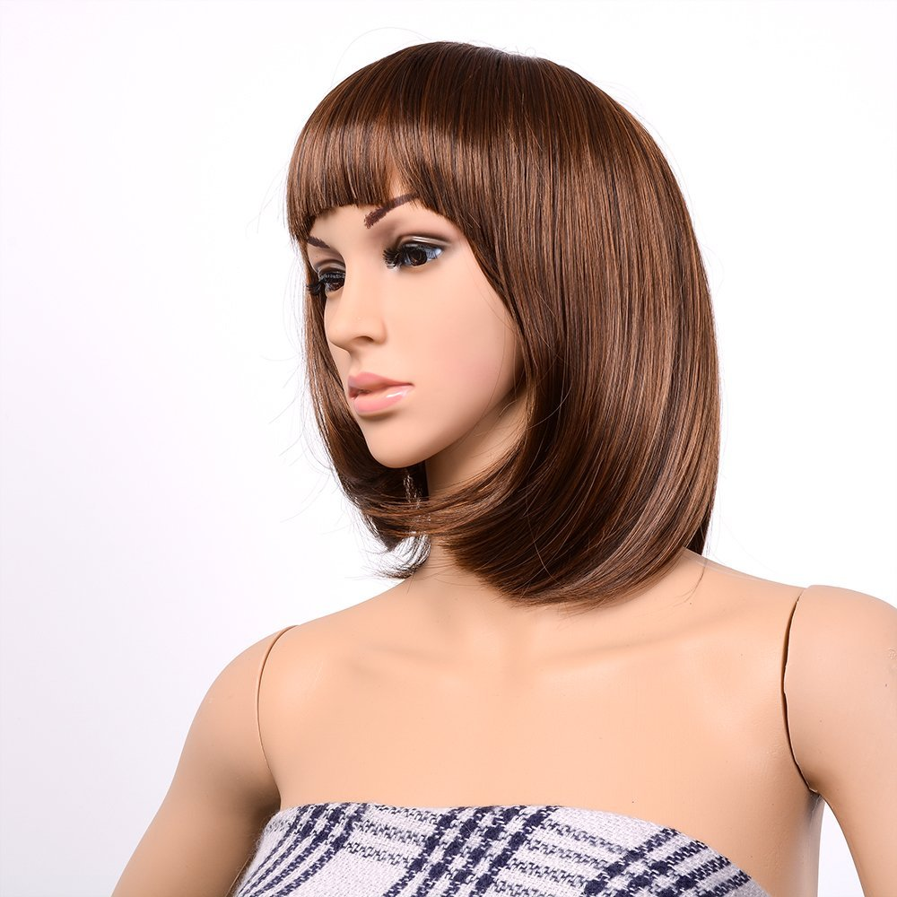 Image Short Straight Bang Hair Bob Wig Halloween Cosplay Party Heat Resistant 13inch Light Brown