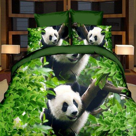 Asewin 3D Panda Single Double Size Quilt Bedding Pillowcase Set Printed Duvet Cover ()