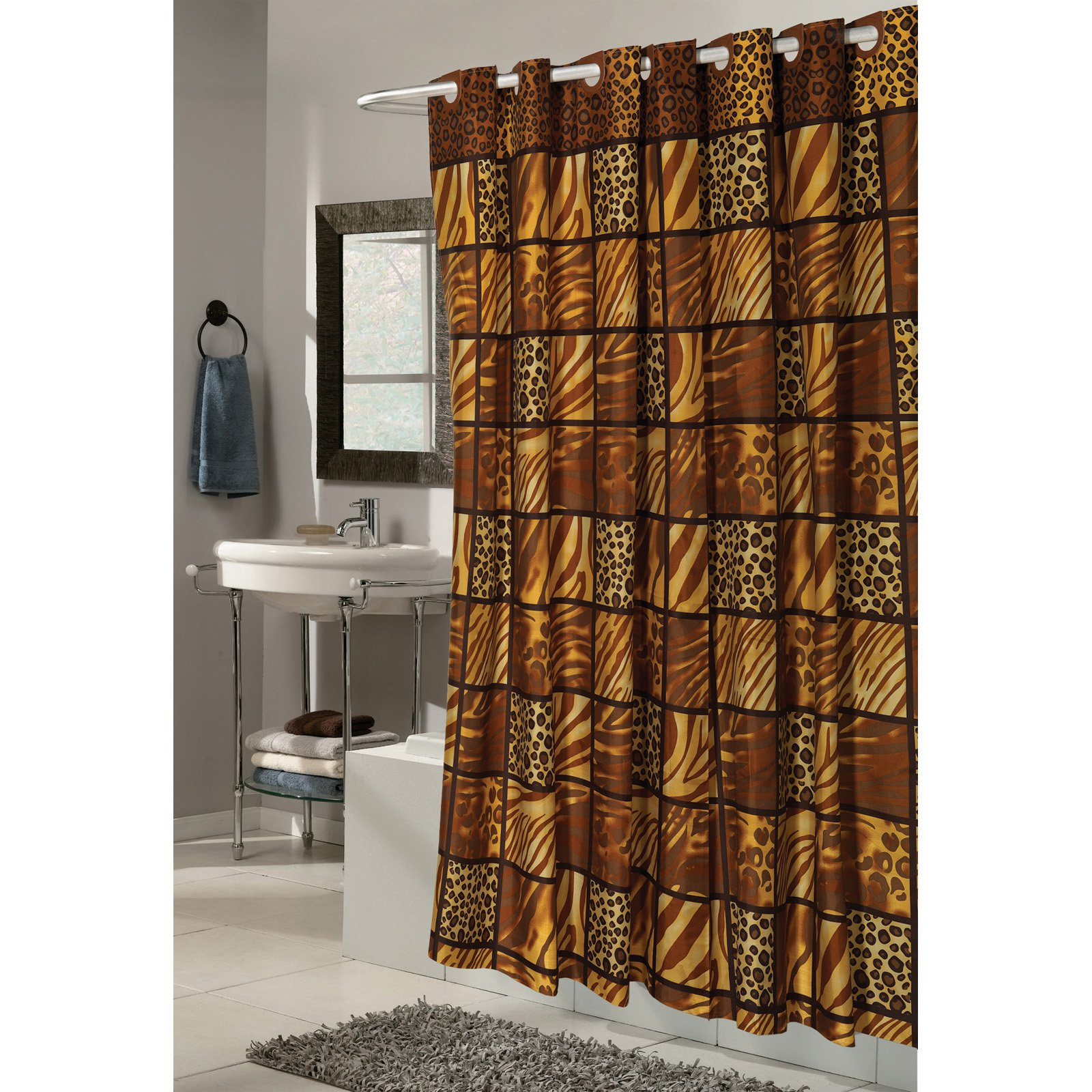 "Shower Stall-Sized, EZ-ON? ""Wild Encounters"" Polyester Shower Curtain"