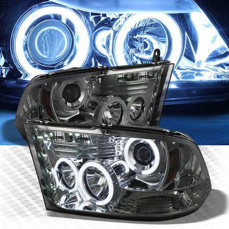 Smoked CCFL Halo LED 2009-2017 Dodge Ram Projector Headlights Smoke Head Lights Pair Left+Right 2010 2011 2012 2013 2014