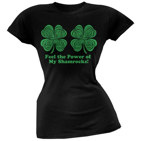 St Patrick's Day Clothes For Women (St. Patricks Day - Hypnotic Shamrocks Feel the Power Black Juniors)