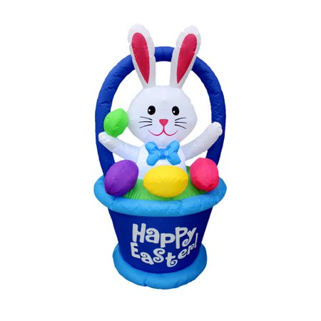 BZB Goods Inflatable Bunny in Basket with Easter Egg Decoration