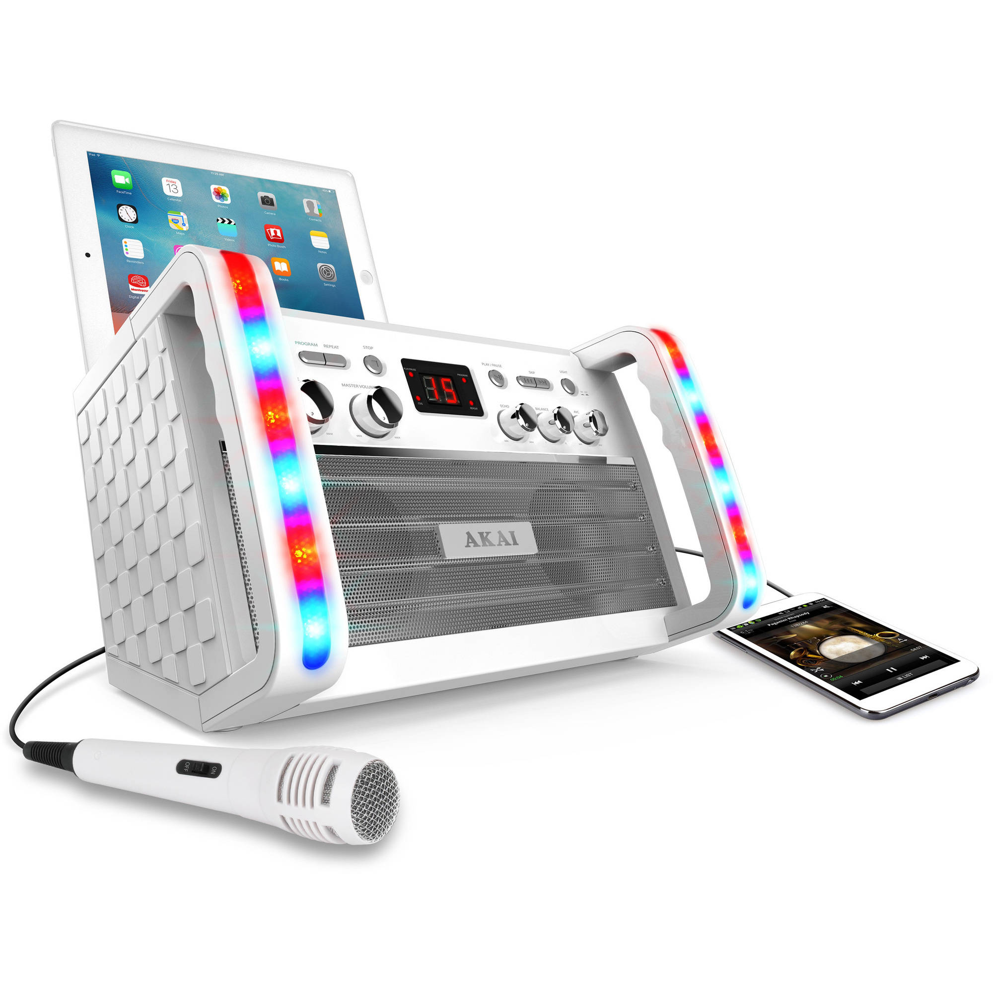 Akai KS213W CD+G Karaoke System and Multi-Color Lighting Effect, White by Generic