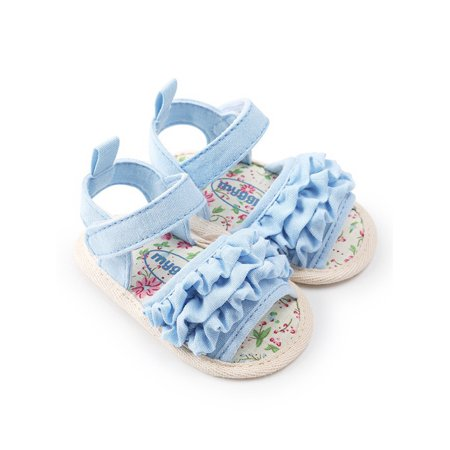 Ruffle Front Sandal (Toddler Baby Girls Soft Sole Sandals Ruffled Anti-slip Summer Shoes )