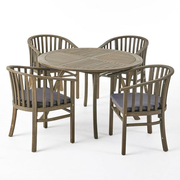 Rosin Outdoor 4 Seater Acacia Wood Circular Dining Set, Gray
