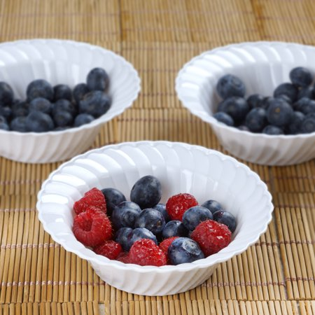 BalsaCircle 12 pcs Disposable Round Waved Plastic Bowls for Wedding Reception Party Buffet Catering Tableware Creative Food - Party Bowl