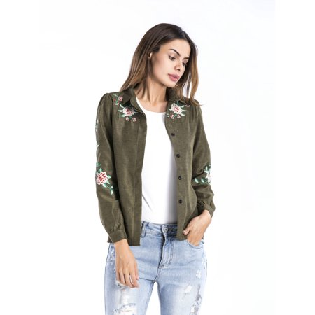 Women's Shirt Dressy Blouse Embroidered Bomber Jacket, Green / Khaki Spring /Fall Blouse One Size Coat Tops for -