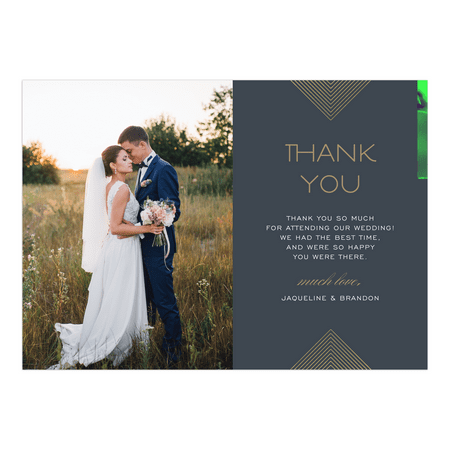Personalized Wedding Thank You Card - Modern Geo - 5 x 7 Flat - Box For Wedding Cards