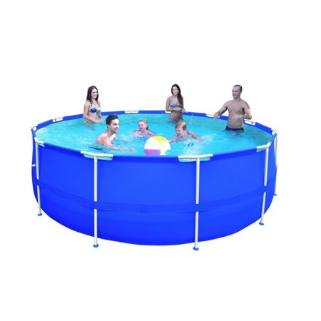 15 X 48  Round Blue Steel Frame Above Ground Swimming Pool Set