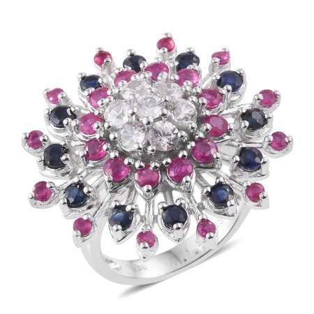 925 Sterling Silver Platinum Plated Round Zircon Multi Gemstone Cluster Ring for Women Cttw - 925 Silver Cluster Ring