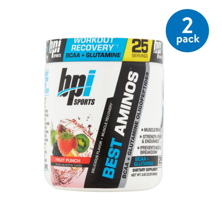 (2 Pack) BPI Sports Best Aminos BCAA + Glutamine Powder, Fruit Punch, 25