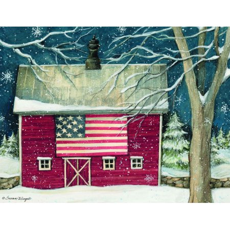 Patriotic Boxed Christmas Cards, 18 ct