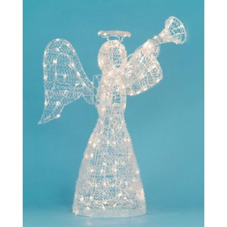 48 lighted opalescent angel with trumpet swirl christmas yard art decoration - Lighted Christmas Angel Yard Decor