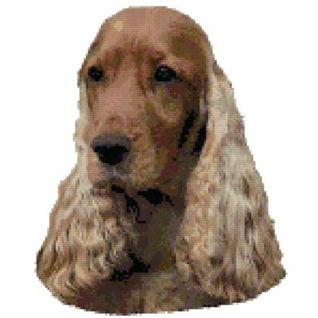 Cocker Spaniel Needlepoint - English Cocker Spaniel Dog Portrait Counted Cross Stitch Pattern