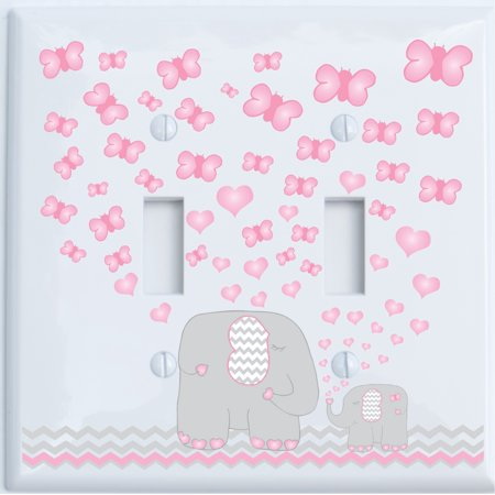 Pink Elephant Double Toggle Light Switch Plate Covers Nursery Wall Decor With Grey And