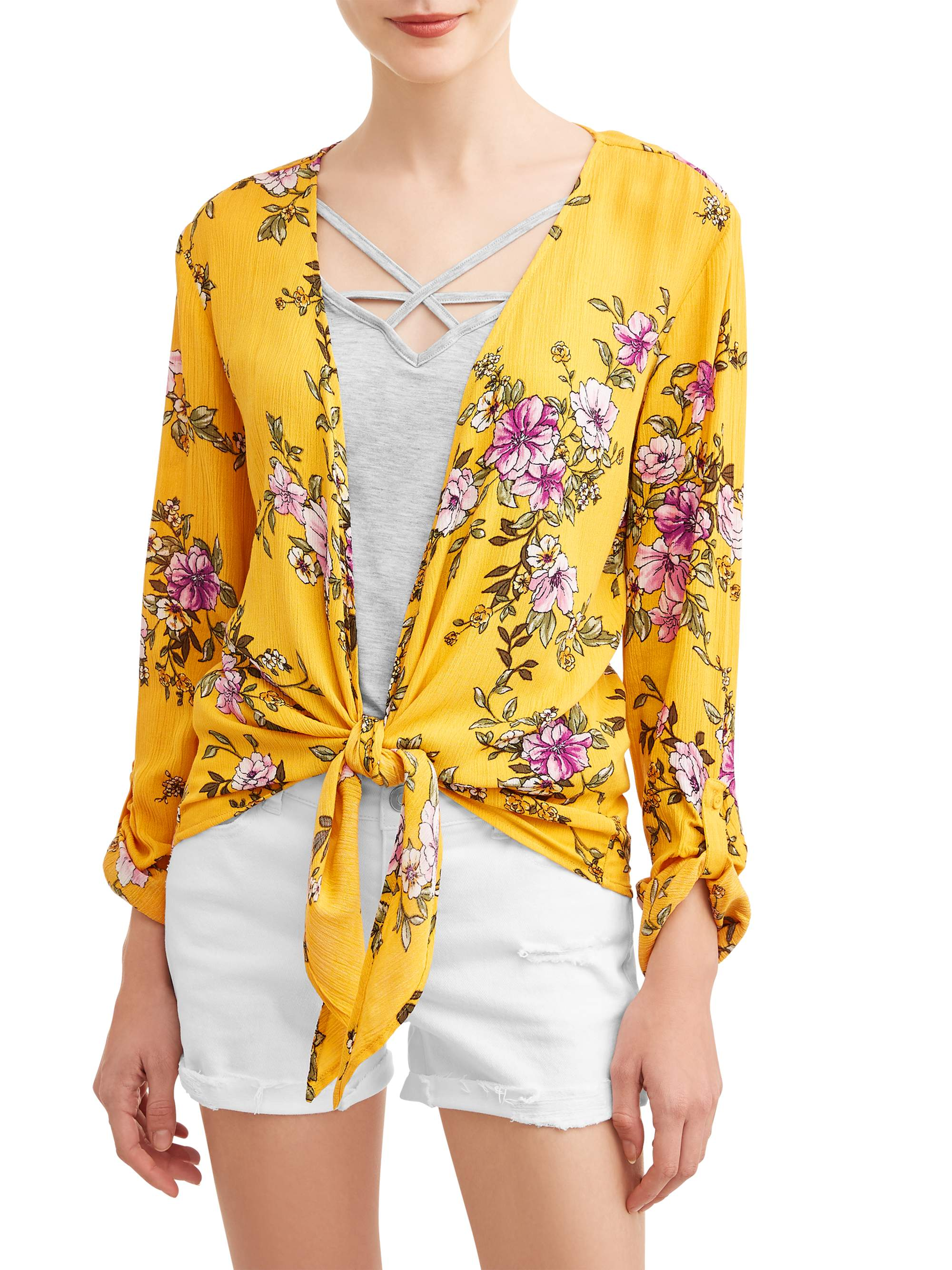 Juniors' Floral Printed Tie Front Blouse and Tank 2Fer