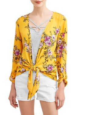 Product Image Juniors  Floral Printed Tie Front Blouse and Tank 2Fer 7e3ee7839