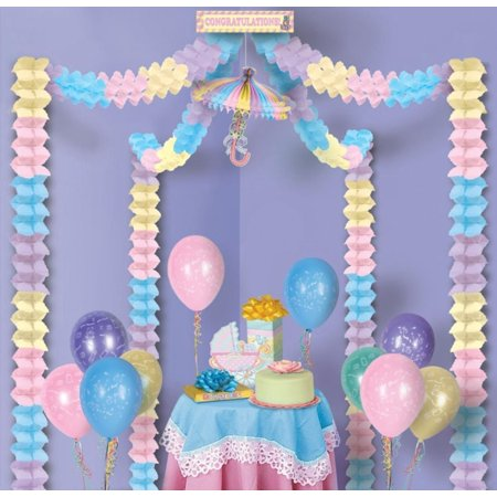 Pack of 6 multi color congratulations baby shower party for Baby shower canopy decoration