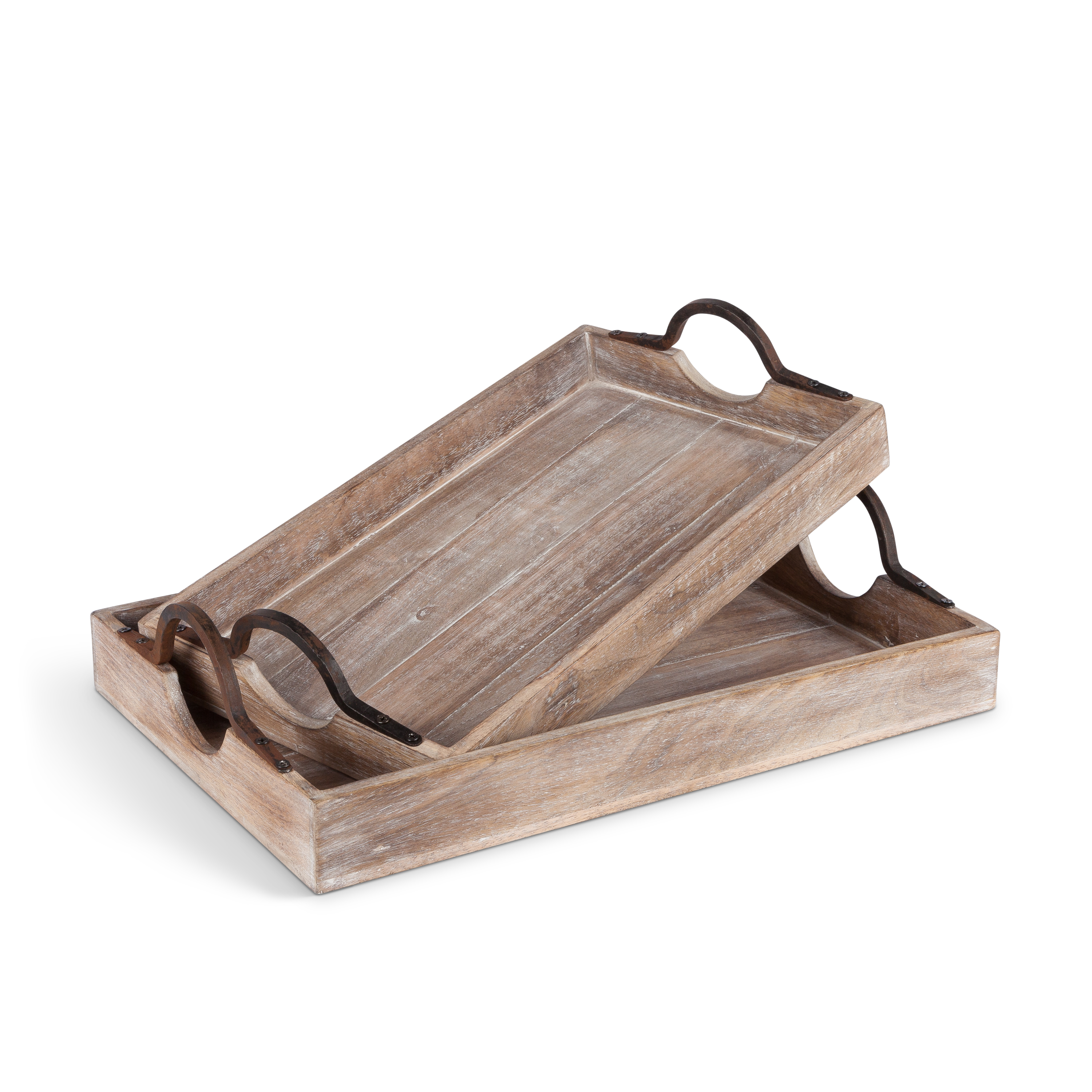 Artisan Serving Trays Constructed Of Mango Wood With Metal
