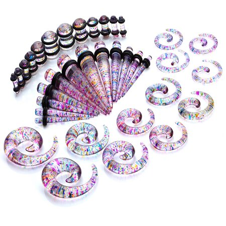 Ear Gauge Jewelry - Gauges Kit Tie Dye Spiral Taper Plugs 8G-00G Ear Stretching Body Jewelry 36 Pieces