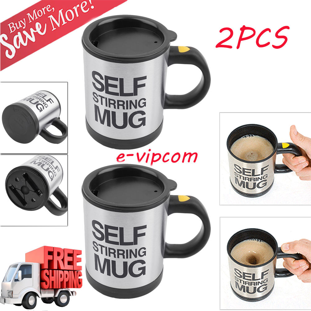 2PCS Self Stirring Coffee Mug, 8 oz Stainless Steel Automatic Self Mixing & Spinning Cup