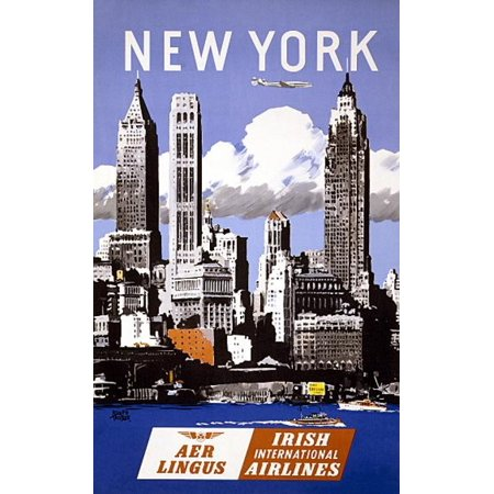 New York Aer Lingus Irish International Airlines Canvas Art     18 X 24
