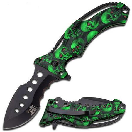 "Dark Side Black 5"" Folder with Green Camo Skull Handle"