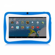 Q768 7 inch Kids Tablet Educational Learning Computer 1024*600 Resolution WiFi Connection with Silicone Case Blue Plug