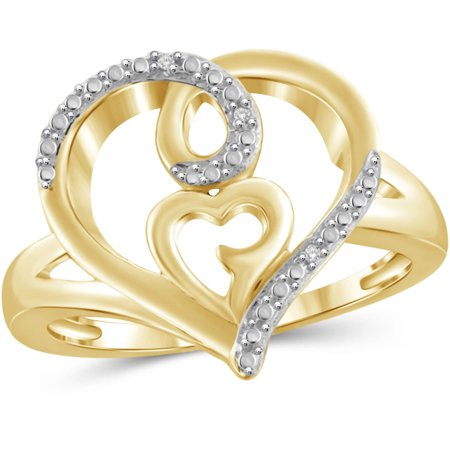 White Diamond Accent 14kt Gold Over Silver Double Heart Open Ring Diamond Open Heart Ring