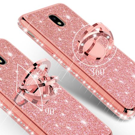 the latest e7d49 1f63a Galaxy J3 Case, Galaxy Sky Case, J36v Case,Galaxy Express Prime,Galaxy  Sol,Galaxy Amp Prime Case Bling Diamond Bumper Ring Stand Sparkly Clear  Thin ...