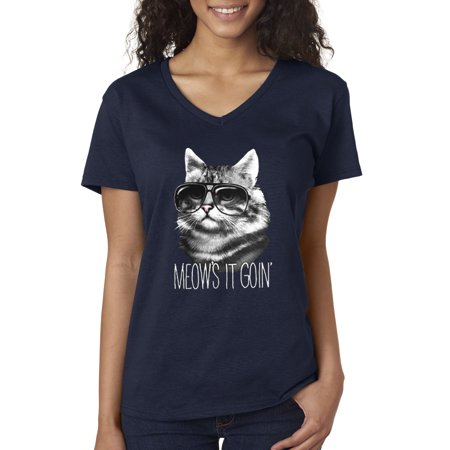 423 Heather (New Way 423 - Women's V-Neck T-Shirt Meows It Goin' Cat Kitty Sunglasses )