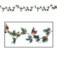 Club Pack of 12 Green and Red Holly Leaf and Berry Christmas Garland Decorations - 6'