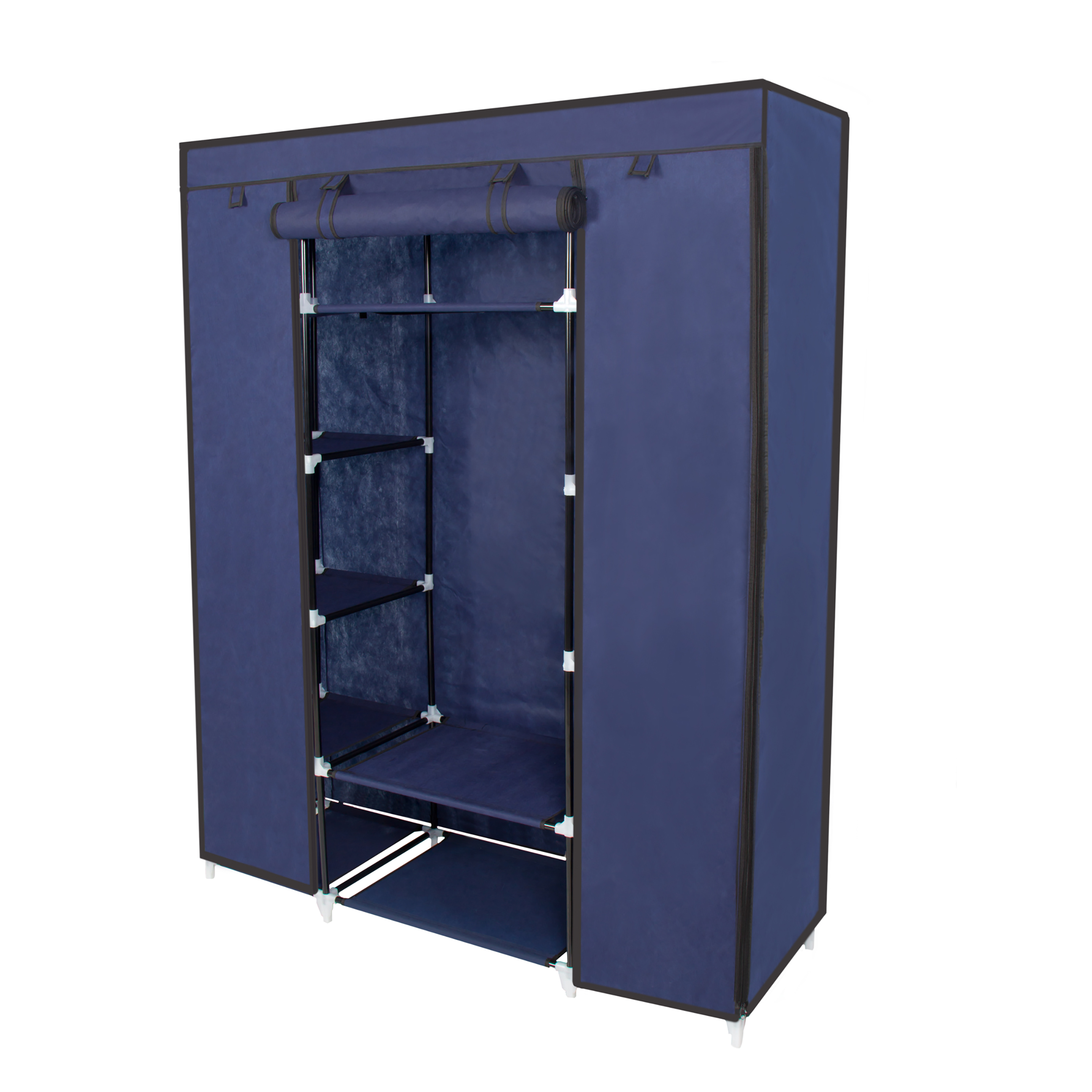 53    Portable Closet Storage Organizer Wardrobe Clothes Rack With Shelves  Blue - Walmart.com