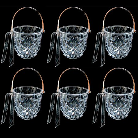 6 Clear Ice Bucket Bar Container Plastic Wine Chiller Tongs Cooler Bpa Free - Plastic Ice Buckets