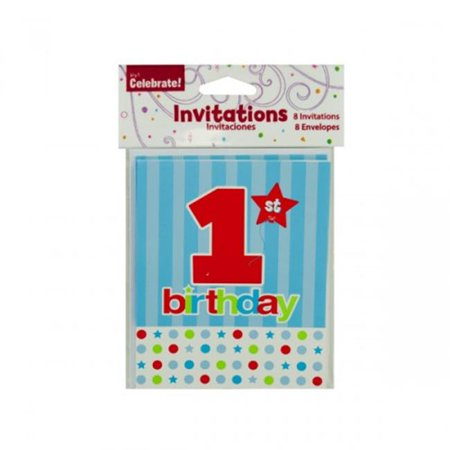 Bulk Buys Pa279 8 Pack 1St Birthday Invitations With Envelopes Of 24