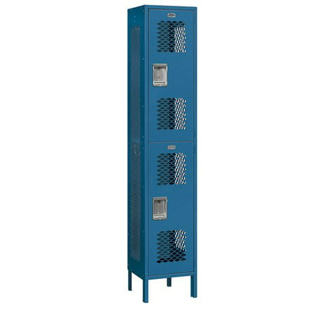 Extra Wide Vented Metal Locker - Double Tier - 1 Wide - 6 Feet High - 18 Inches Deep - Blue -