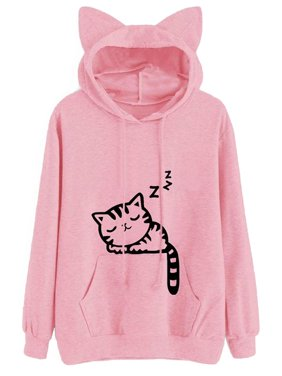 e3bb0502d31 Product Image Babula Women Long Sleeve Cat Printed Hooded Sweatshirt Tops