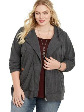 Plus Size Asymmetrical Zip Front Hoodie