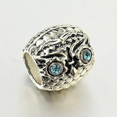Owl Charm Bead With Light Blue Crystals for European Snake Chain Charm Bracelet