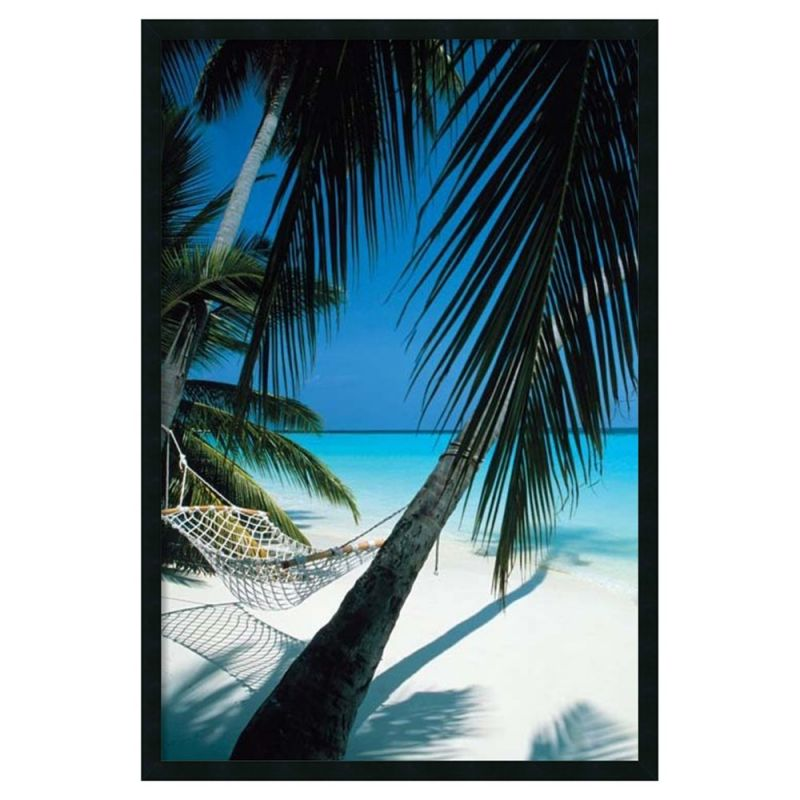 Amanti Art Palm View Hammock Framed Artwork Print with Gel Coated Finish 25W 37H by Amanti Art