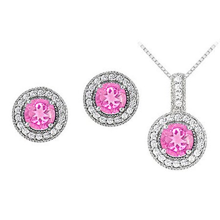 September Birthstone Pink Sapphire with CZ Halo Earrings and Pendant in 14K White Gold - image 1 of 2