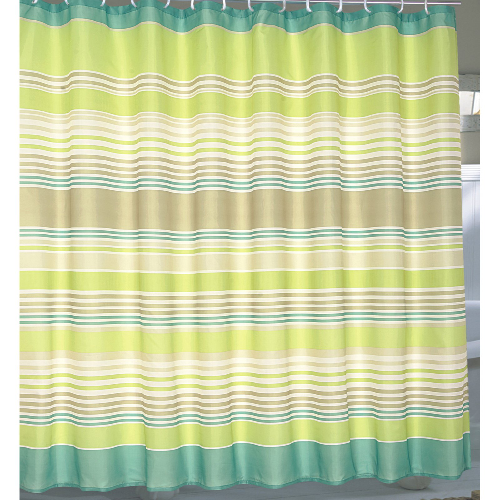 "Extra Wide ""Brighton"" Fabric Shower Curtain"