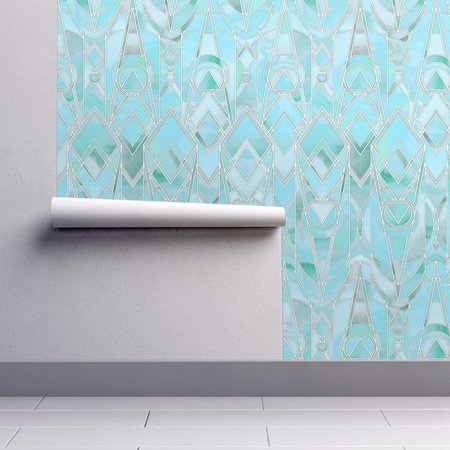 Wallpaper Roll or Sample: Art Deco Art Nouveau Geometric Collage Watercolor