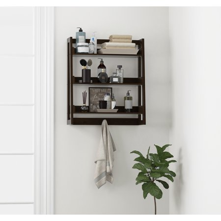Spirich Bathroom Shelf Wall Mounted Ladder Espresso